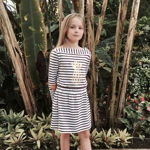 Pineapple Striped Boat Neck Dress - dresses