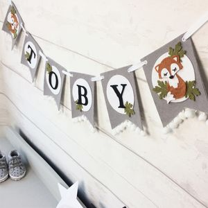 Personalised Woodland Fox Felt Baby Bunting - animal magic