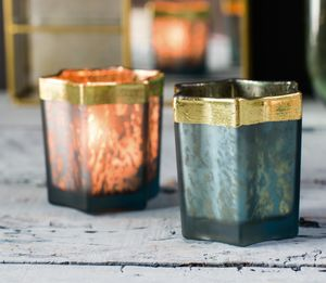 Blue And Gold Embossed Star Tea Light Holder