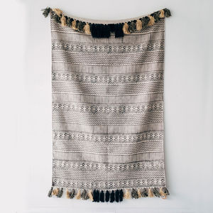 Stone Washed Pattern Rug With Large Tassels