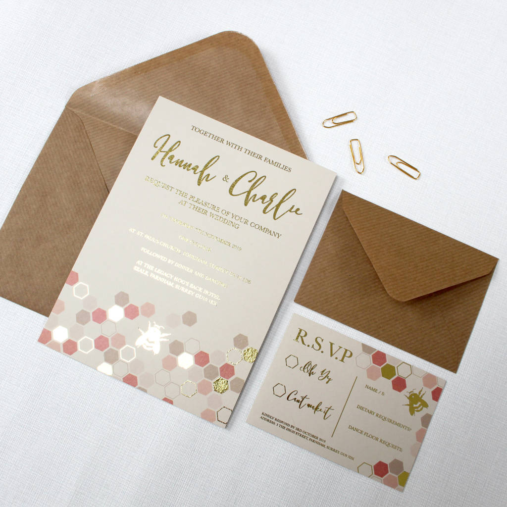 gold foil bee wedding invitations by love paper wishes