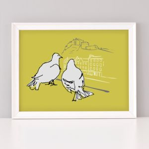 Edinburgh Lovebirds Pigeon Print - animals & wildlife