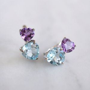 Sterling Silver Topaz And Amethyst Heart Earrings
