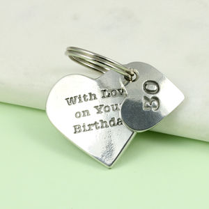 Personalised 30th Birthday Pewter Heart Key Ring