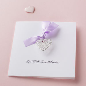 Personalised Get Well Soon Wire Heart Card - necklaces & pendants
