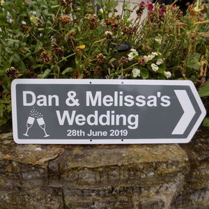 Personalised Wedding Sign With Illustrations - outdoor decorations