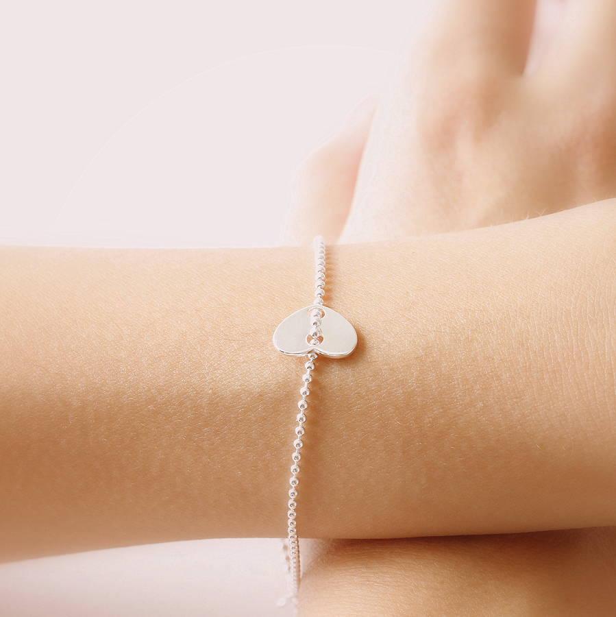 Sterling Silver Heart Tag Bracelet