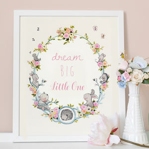 Personalised Garden Wreath Nursery Print