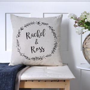 Personalised Wedding Olive Wreath Cushion - engagement gifts