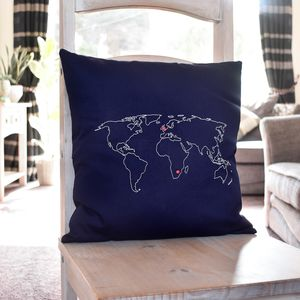 Personalised World Map Cushion Cover - cushions