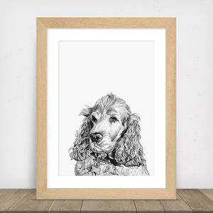 Hand Drawn Personalised Dog Portrait - pet portraits