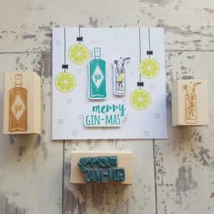 Christmas Gin Rubber Stamp Set