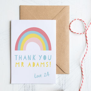 Personalised Teacher Thank You Rainbow Card