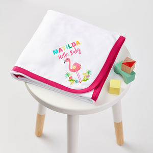 Girls Personalised Flamingo Blanket