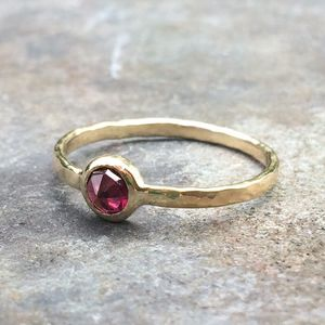 Earth Ring 9ct Yellow Gold, Recycled Rosecut Garnet - precious gemstones