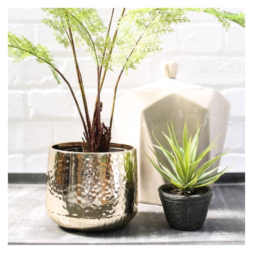 gold hammered plant pot by the forest u0026 co notonthehighstreet com