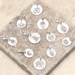 Personalised Sterling Silver Boho Symbol Disc Charms - charm jewellery