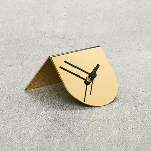 Metallic Brass Desk Clock - mixed metals