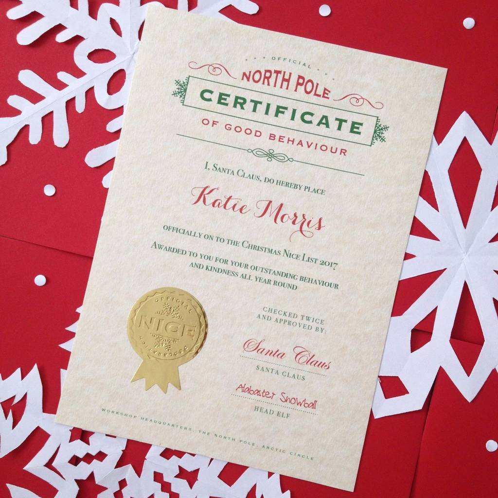 Traditional Christmas Eve Santa Nice List Certificate