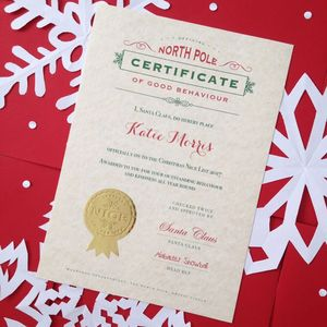 Traditional Christmas Eve Santa 'Nice' List Certificate - cards
