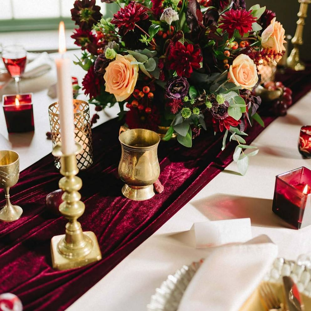 Exceptional Burgundy Velvet Table Runner