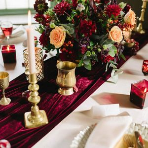 Burgundy Velvet Table Runner - table decorations