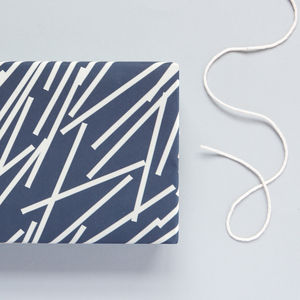 Navy Line Print Patterned Wrapping Paper - wrapping paper