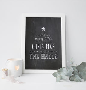 Personalised 'Merry Little Christmas' Monochrome Print