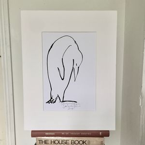 'Snoozing Penguin' Original Ink Line Drawing