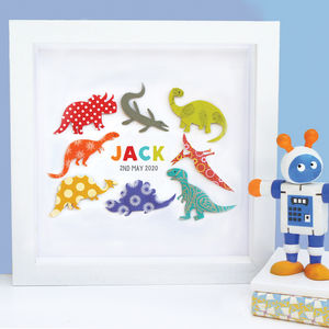 Personalised Baby Boy Dinosaur Art - mixed media & collage