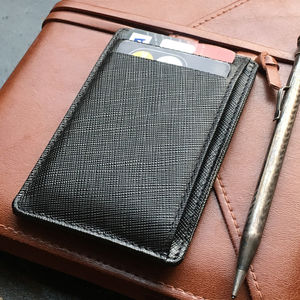 Saffiano Leather Card Holder With Rfid Protection - wallets & money clips