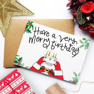 December Christmas Birthday Card - birthday cards