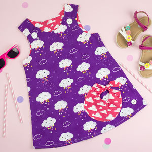 Cloud Print Bubble Pocket Dress - clothing
