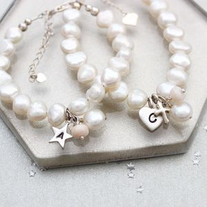 Pearl And Birthstone Christening Bracelet - bracelets