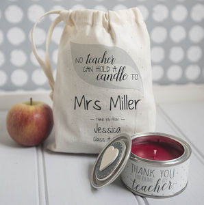 Personalised 'Thank You Teacher' Candle In Gift Bag - gifts for teachers