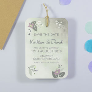 Watercolour Botanical Bloom Save The Date - invitations