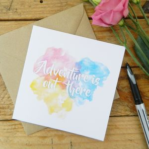 Adventure Watercolour Card - leaving cards