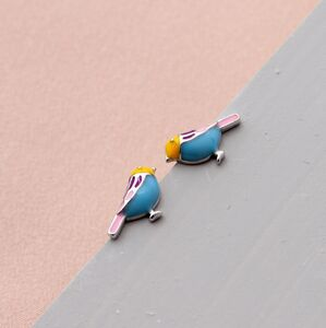 Mini Enamel Bird Earring Studs