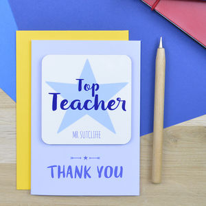 Top Teacher Card With Coaster - gifts for teachers