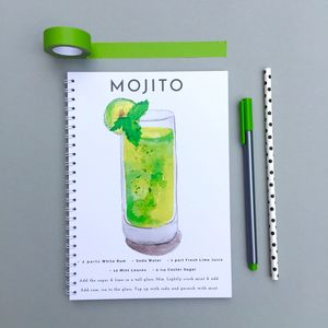 Mojito Watercolour Cocktail Notebook