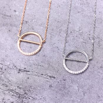Half Crystal Paved Circle Necklace