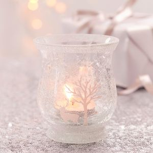 Small Woodland Scene Glass Tea Light Holder