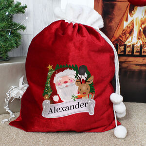 Father Christmas Red Fleece Sack