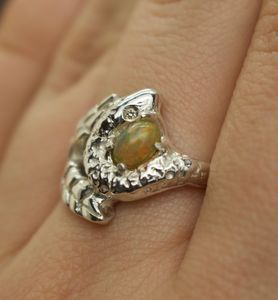 Snake And Leaf Engagement Ring With Opal And Diamonds