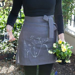 Screen Printed Linen Gardening Apron - gifts for her