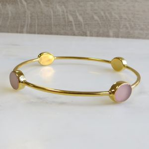 Pink Chalcedony Gold Bangle - winter sale