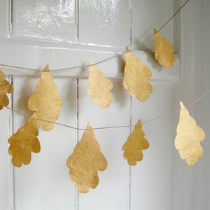 Gold Oak Leaf Garland - bunting & garlands