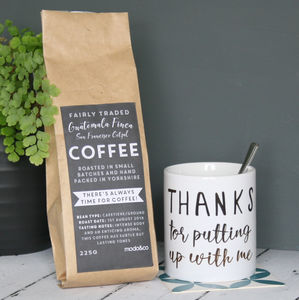 Personalised 'Thanks' Coffee And Mug Set