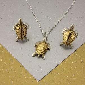 Small Turtle Necklace And Studs Set In Gold And Silver