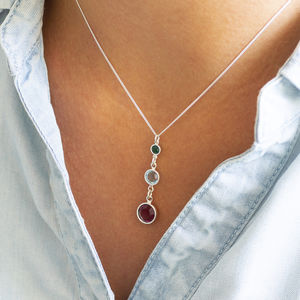Three Generations Birthstone Necklace